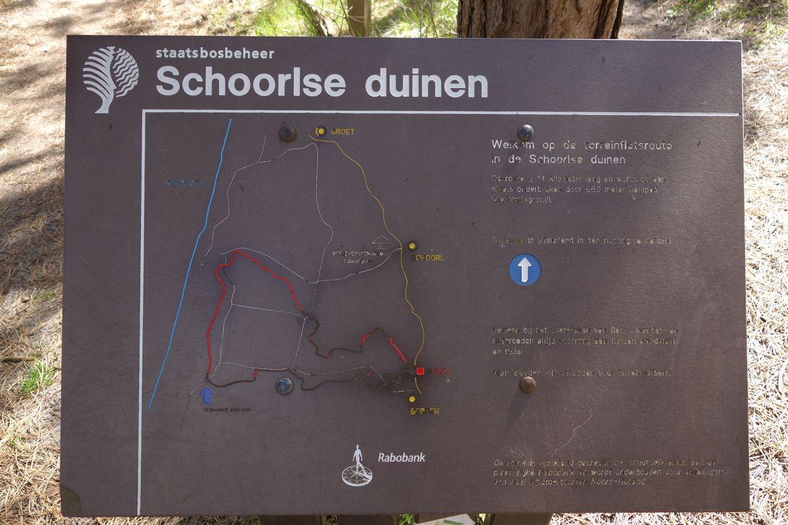 Mountainbike verhuur schoorl bord met plattegrond